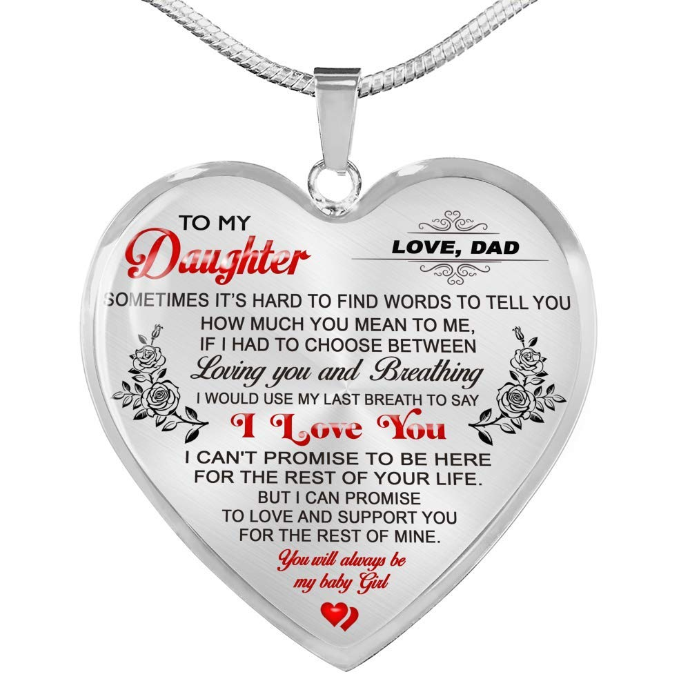 Fa Gifts to My Daughter Necklaces Pendants Luxury Necklace Silver On Birthday Includes Gift Box! Father and Daughter Necklace Gift from Daddy Anniversary