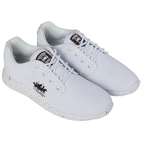 Santa Monica Polo Club Zapatillas de Hombre Cordones Deporte Zapatillas de Marca Calzado - Blanco, 11 UK: Amazon.es: Zapatos y complementos