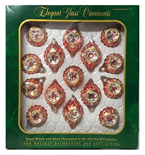 Large Gift Pack Vintage Christmas Classics Hand Painted Glass Indent Ornaments By European Craftsmen in the Original Box
