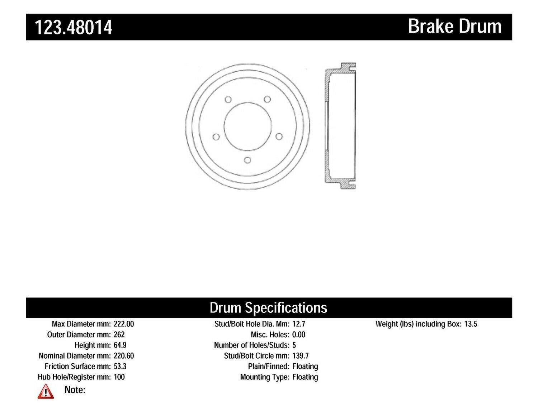 Centric Parts 123.48014 Brake Drum