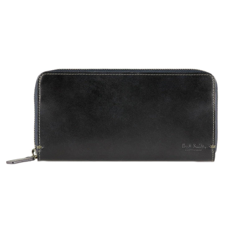 [名入れ可] ポールスミス Paul Smith Collection 正規品 ラウンドファスナー 長財布 PCステインカーフ ショップバッグ付 レザー ロング ウォレット 本革 財布 B01N8Q6HZ6ブラック 名入れあり