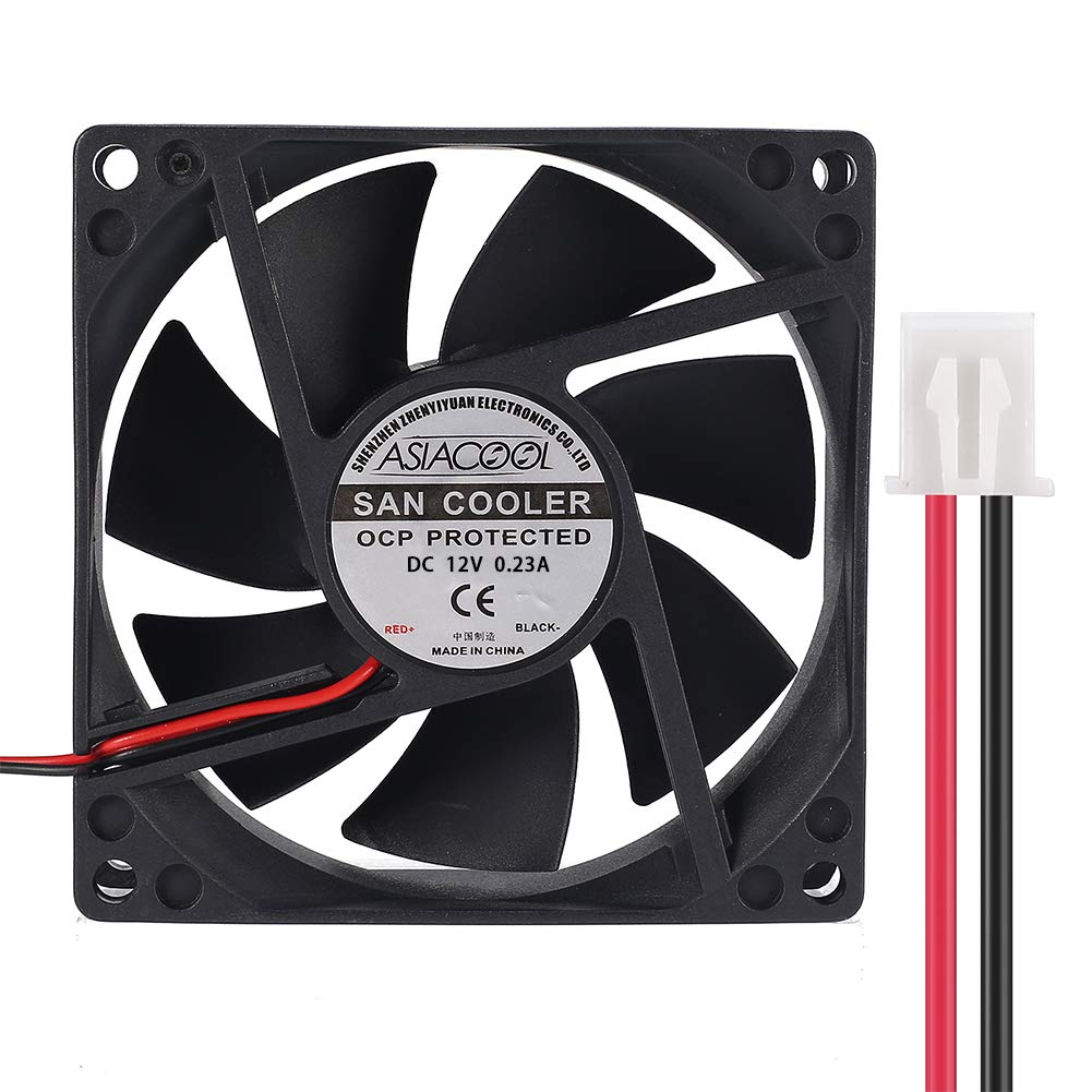 Jienk 8025 Silent Brushless Cooling Fan 2 Pin Brushless 8CM Fan 80mm X 80mm X 25mm Cool 3D Printer Parts PC Case CPU Cooler Oil Bearing (DC 12V)