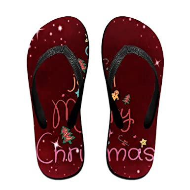 Couple Flip Flops Merry Christmas Red Background Print Chic Sandals Slipper Rubber Non-Slip Spa Thong Slippers