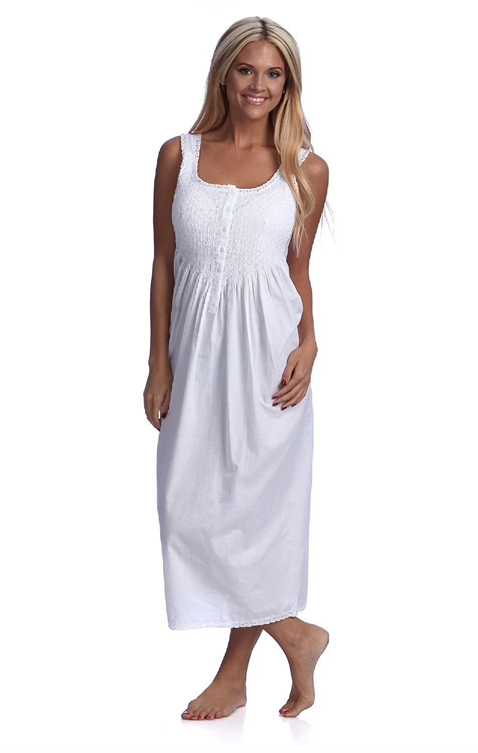 e05e09514874 Handmade Women s Smock Tatting Lace Full-Length Nightgown White