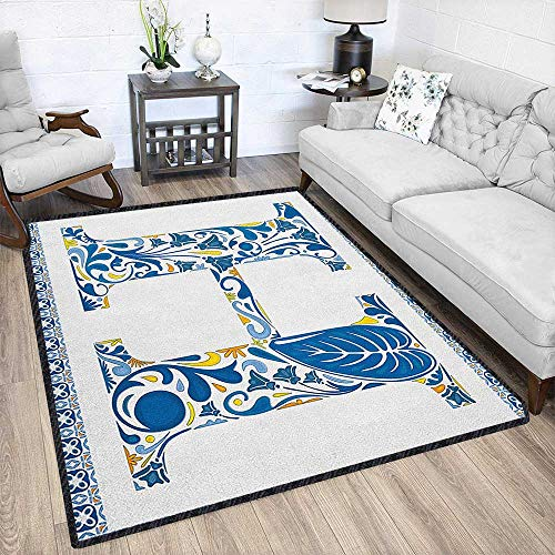 Letter H Modern Area Rug with Non-Skid,Azulejo Frame Flowers and Leaves Abstract Color Scheme Portuguese Inspired Durable and Resistant to Soiling Blue Yellow Orange 67