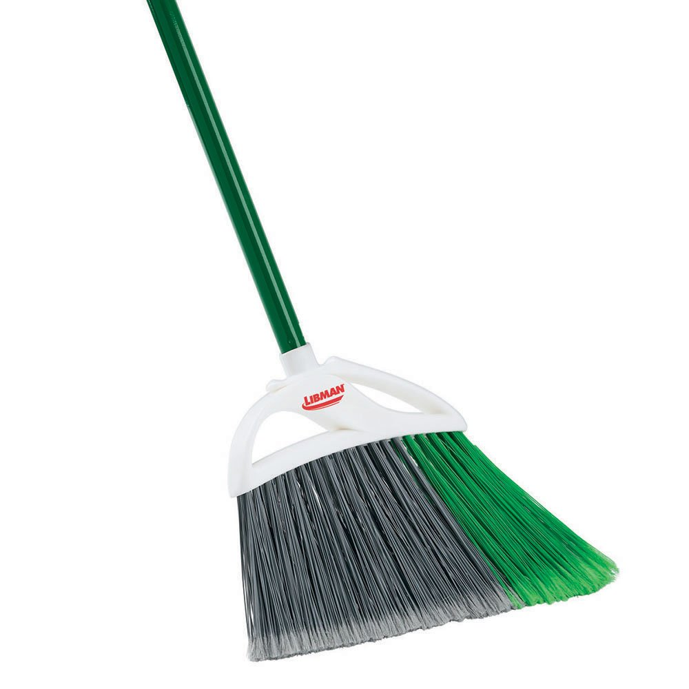 Libman Commercial 205 Large Precision Angle Broom, Steel Handle, 13'' Wide, Green and White (Pack of 6)