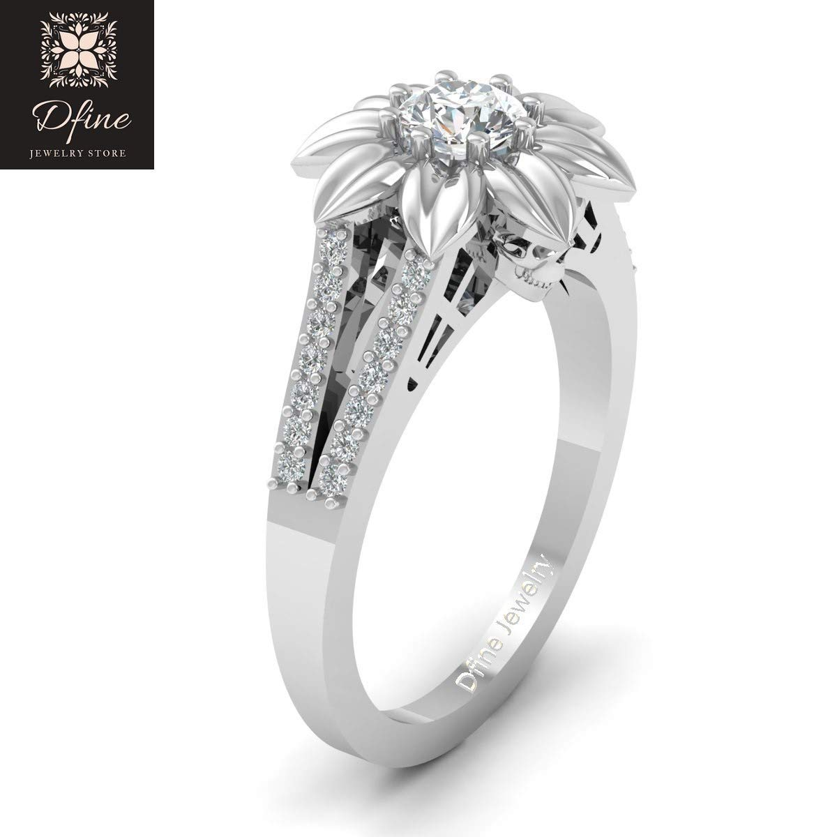 74d86aeeb15bd0 Amazon.com: Classic Diamond Skull Engagement Ring Womens Flower Art Nouveau Skull  Ring 925 Sterling Silver: Handmade