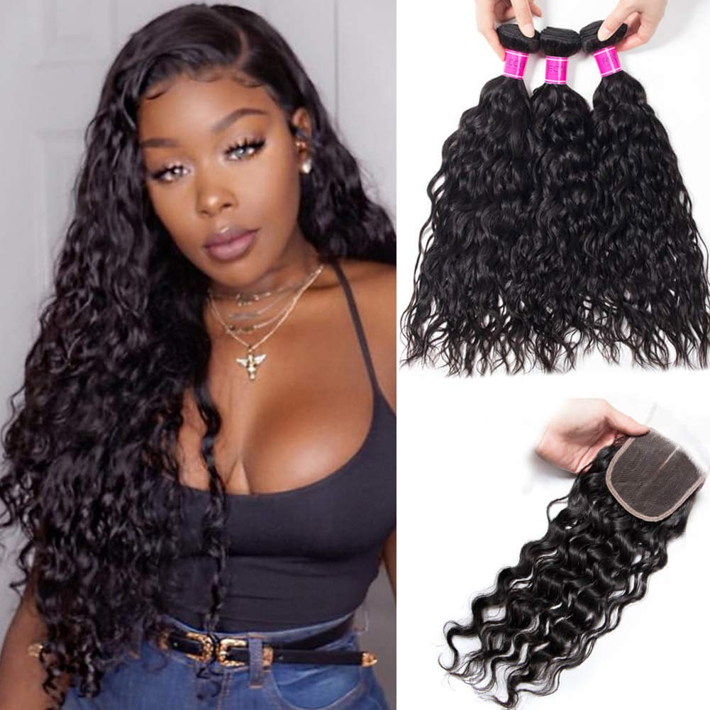 RECOOL Hair 10A Wet and Wavy Human Hair Bundles and Closure Brazilian Water Wave Bundles with Closure Virgin Hair Extensions Natural Color Real Good Quality Hair(16 18 20+14) by RECOOL