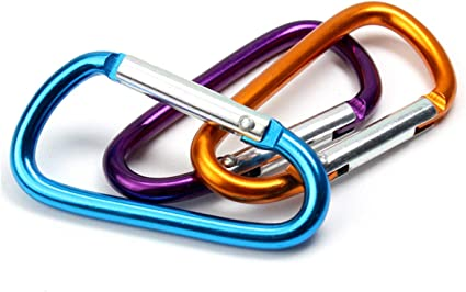 "Aluminum Carabiner Clip D Ring Shape 3/"" Spring Link,Screw Lock Hooks 5 Pack"