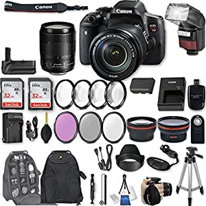"Canon EOS Rebel T6i DSLR Camera EF-S 18-135mm f/3.5-5.6 IS STM Lens + 2Pcs 32GB Sandisk SD Memory + Automatic Flash + Battery Grip + Filter & Macro Kits + Backpack + 50"" Tripod + More"