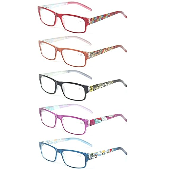 8c75d83e4b43 Kerecsen 5 Pack Fashion Unisex Reading Glasses Spring Hinge Pattern Design  Readers (5 Pack Mix Color