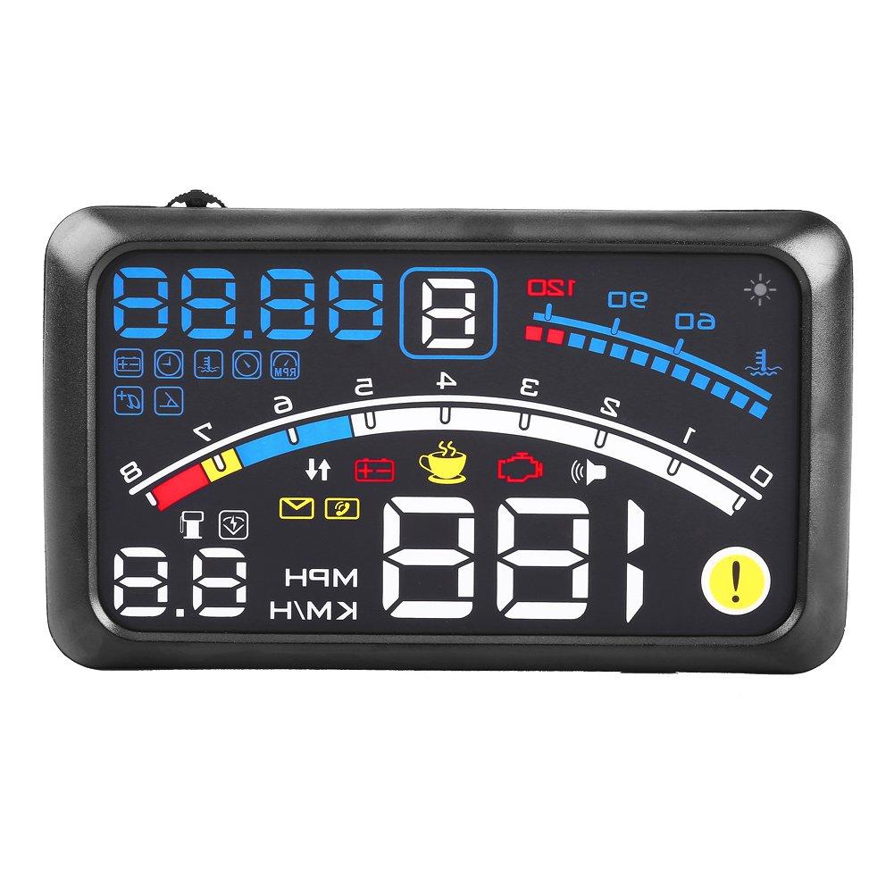 5.5'Universal Hud Head Up Display, Keenso GPS del coche KMH MPH Sobre Speed Alarm Velocí metro parabrisas Pelí cula de proyecció n 12V para automó viles y otros vehí culos