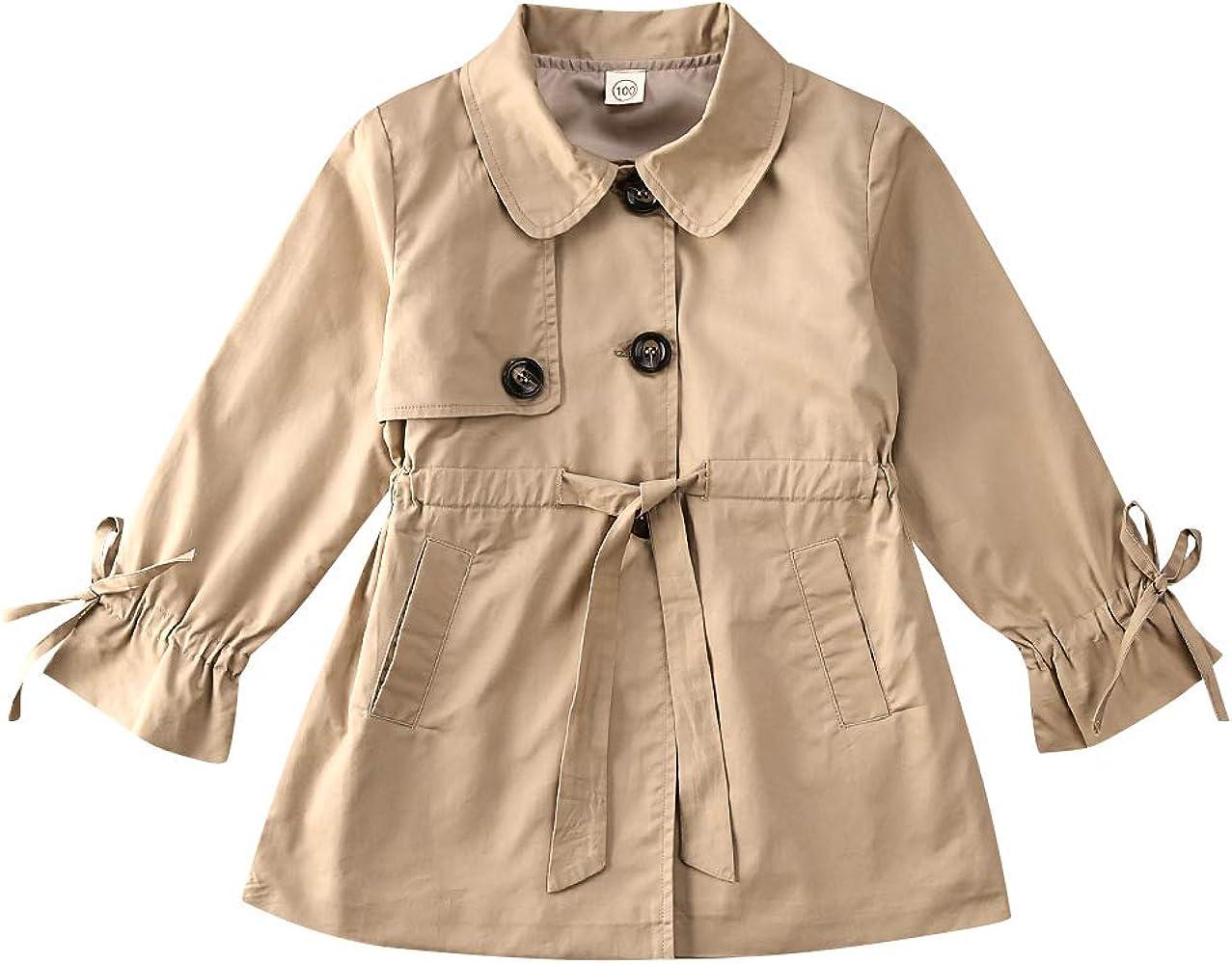 Khaki, 4-5 Years Baby Girls Parka Windbreaker Jacket Kids Autumn Winter Casual Street Trench Coat Toddler Long Sleeve Outerwear