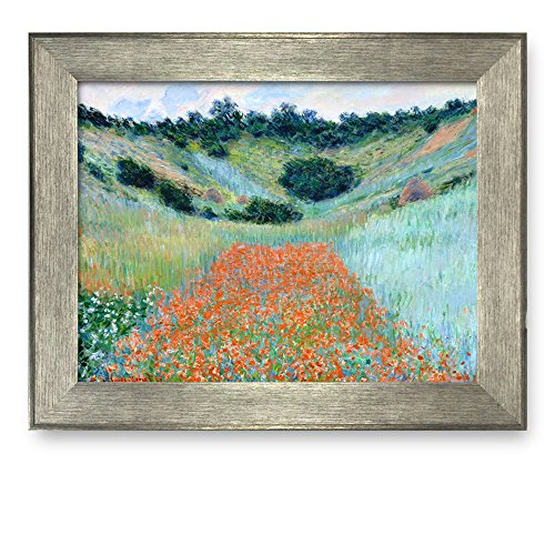 Poppy Field in a Hollow near Giverny by Claude Monet Framed Art Print Famous Painting Wall Decor Silver Frame