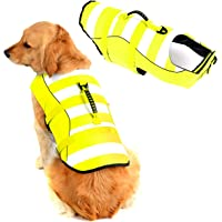 """High Visibility Dog Life Jacket Safety Vests for Swimming, Superior Buoyancy & Rescue Handle (XS (Chest Girth: 13""""-14.2…"""