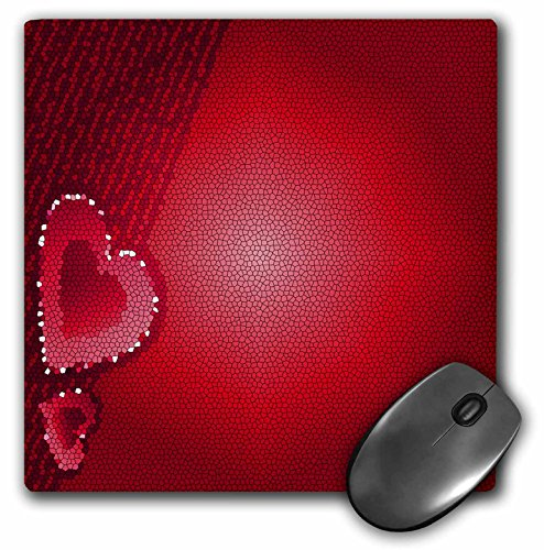 3dRose Yves Creations Hearts - Stained Glass Hearts - MousePad (mp_9305_1) ()
