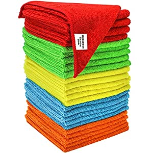 "S & T Bulk Microfiber Kitchen, House, Car Cleaning Cloths - 25 Pack, 11.5"" x 11.5"""