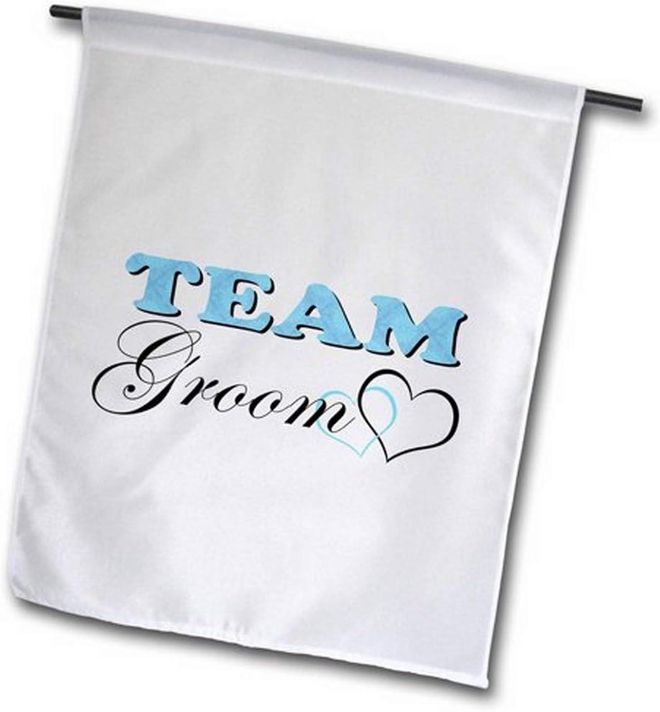 3dRose fl_47588_2 Wedding Party Team Groom Blue Garden Flag, 18 by 27