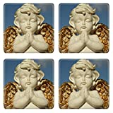MSD Square Coasters IMAGE 37104271 praying little angel figure with golden wings isolated on sky