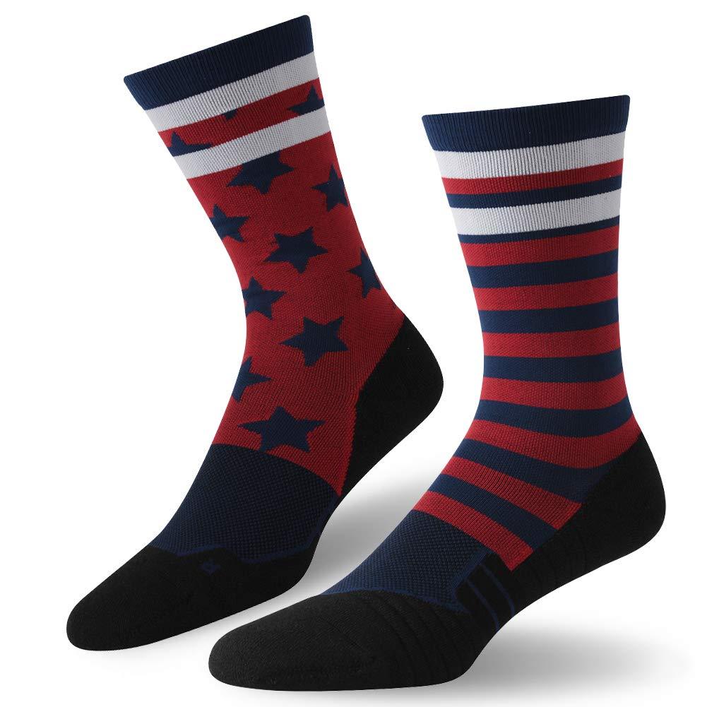 Patirotic Flag Socks,HUSO Men's Women's Groom Wedding Suits Dress Socks 1 Pairs 4th of July Patriotic American Flag Dress Socks Casual Patterned Crew Socks by HUSO