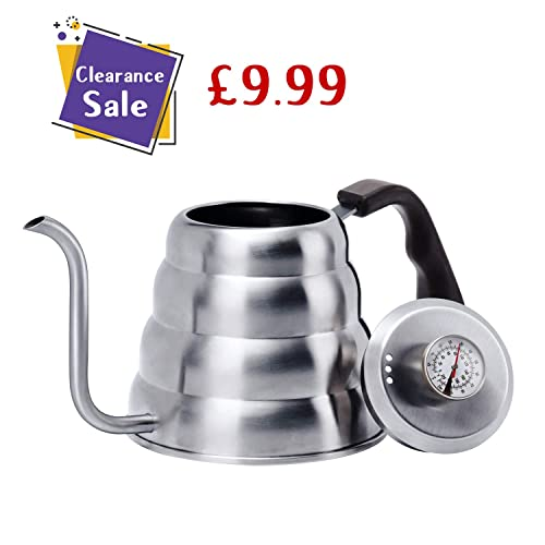 Love-KANKEI Stovetop Kettle with Thermometer -Stainless Steel Pour Over Coffee Kettle for Hand Drip Coffee 1.2 L