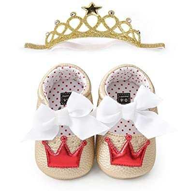 28237a71b47b7 BubbleColor Baby Premium Soft Sole Infant Toddler Prewalker Anti-Slip Party  Dress Crib Shoes with Free Baby Unicorn Headband