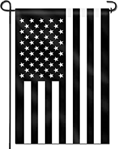 Anley Double Sided Premium Garden Flag, Thin Black and White Line USA Decorative Garden Flags - Weather Resistant & Double Stitched - 18 x 12.5 Inch