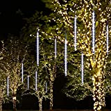 Cocopa Waterproof Meteor Shower Rain Lights -8 Tubes x 144LED Icicle Snow Falling Raindrop for Holiday Party, Wedding, Christmas Tree Decoration (Shine White)