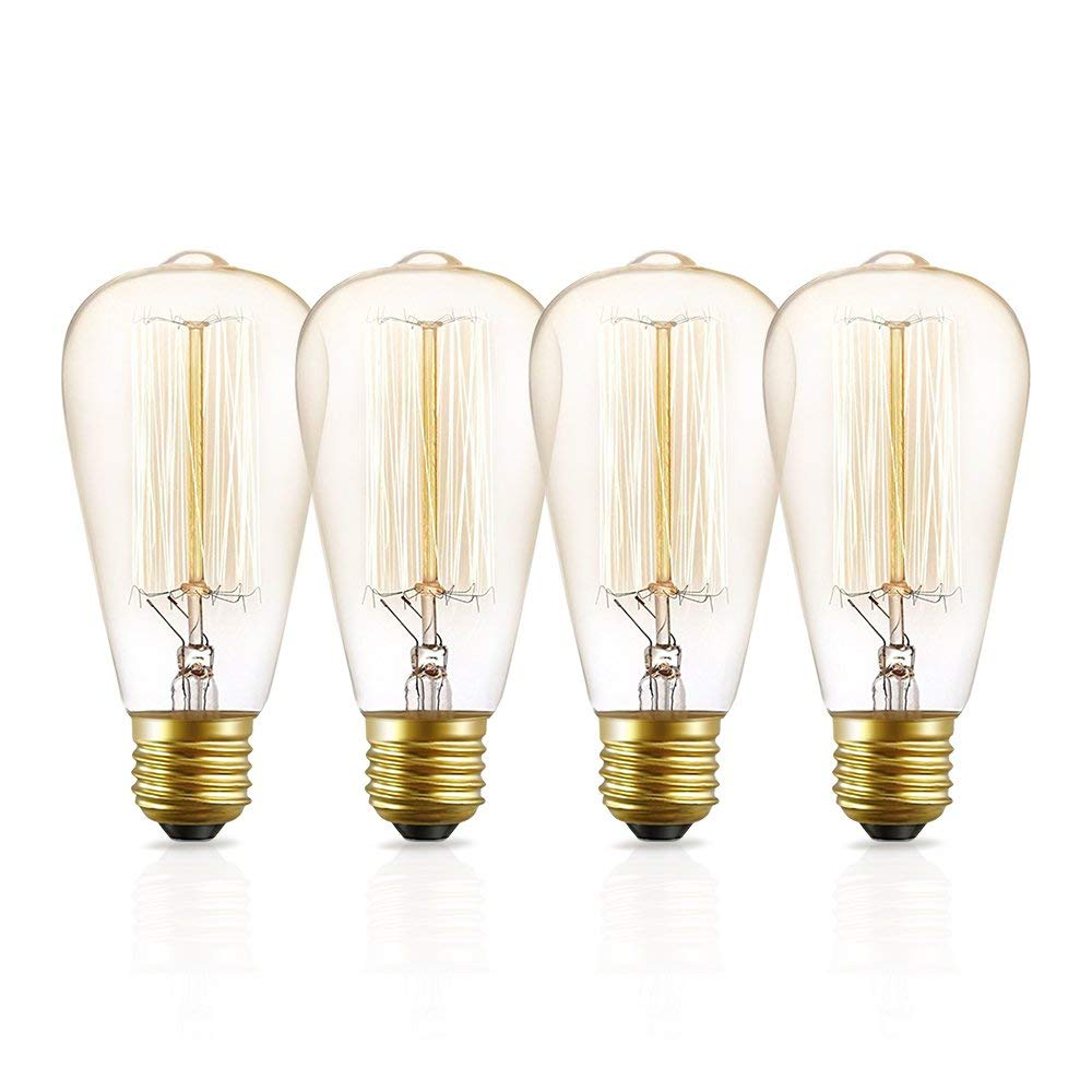 Edison Light Bulbs, Ambimall 60W ST64 Dimmable Incandescent Glass Vintage Light, Amber Warm, 2200K, E26 Medium Base Antique Light Squirrel Cage Filament Lamp (4 Pack)