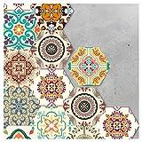 HyFanStr Morocco Style 10 Pcs Tile Sticker Peel and Stick Tile Backsplash Floral Wall Sticker