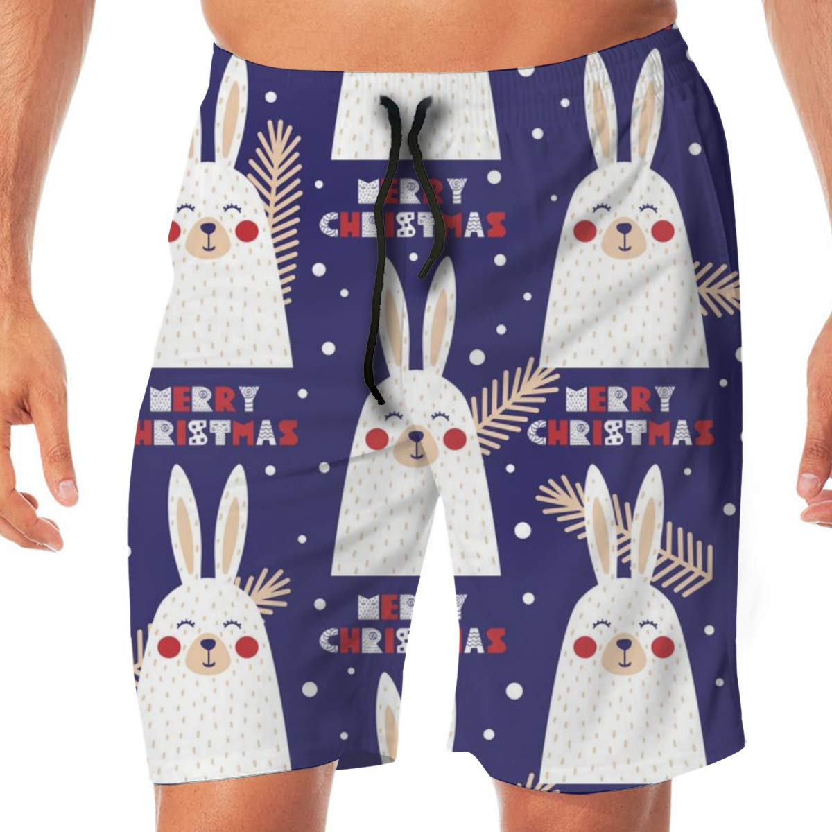 TR2YU7YT Christmas Rabbit Casual Mens Swim Trunks Quick Dry Printed Beach Shorts Summer Boardshorts Bathing Suits with Drawstring