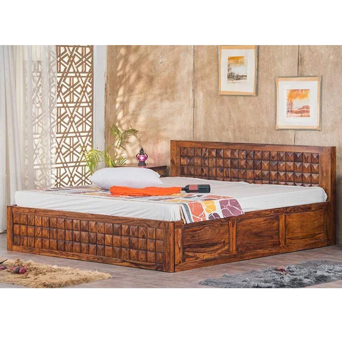 Furny Bohemian Teak Wood King Size Bed with Storage Teak from Ghana  9+  Years Life with Assurance  Termite & Bore Treated  Customization & EMI