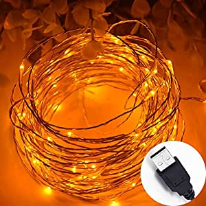 Amazon.com: HAHOME 33Ft 100 LEDs USB Starry String Lights with Power Adapter for Wedding ...
