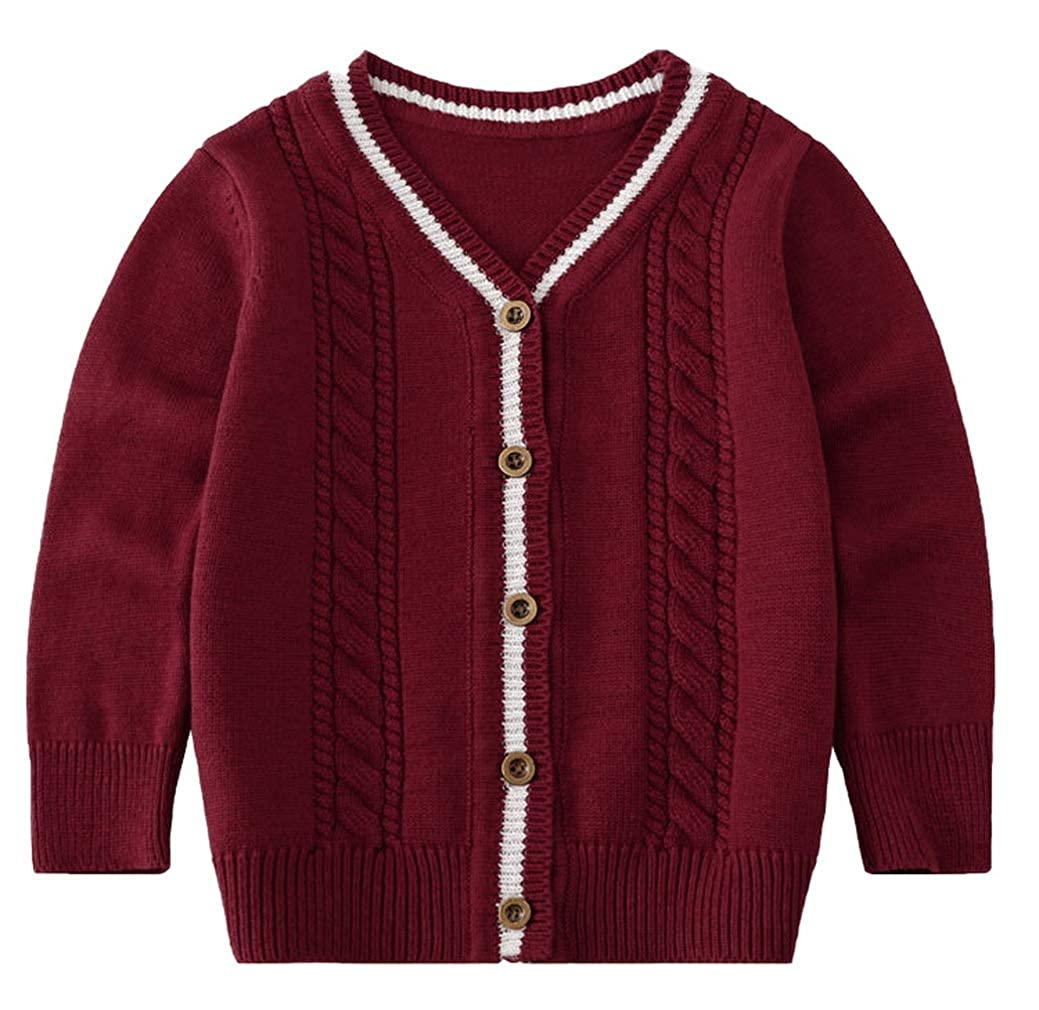 Jelord Children Boys V-Neck Button Cardigan Jackets School Uniform Casual Knitted Sweater Coat Outwear