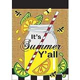 Its Summer Yall Mason Jar Lemonade 18 x 13 Rectangular Burlap Double Applique Small Garden Flag For Sale