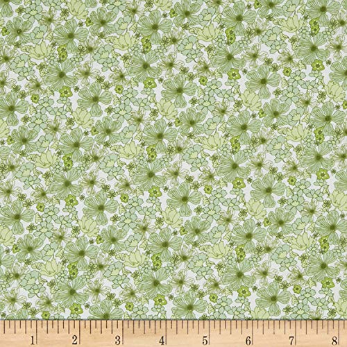 E. E. Schenck In The Beginning s Garden Delights Poppy Fabric, Green, Fabric By The Yard