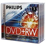 Philips Dw4S4J05F/17 4.7Gb 4X Dvd+Rws With Jewel Cases, 5 Pk