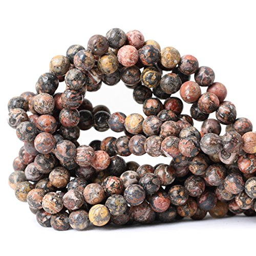 Qiwan 45PCS 8mm Natural leopard print Jasper Gemstone Round Loose Beads for Jewelry Making 1 Strand ()