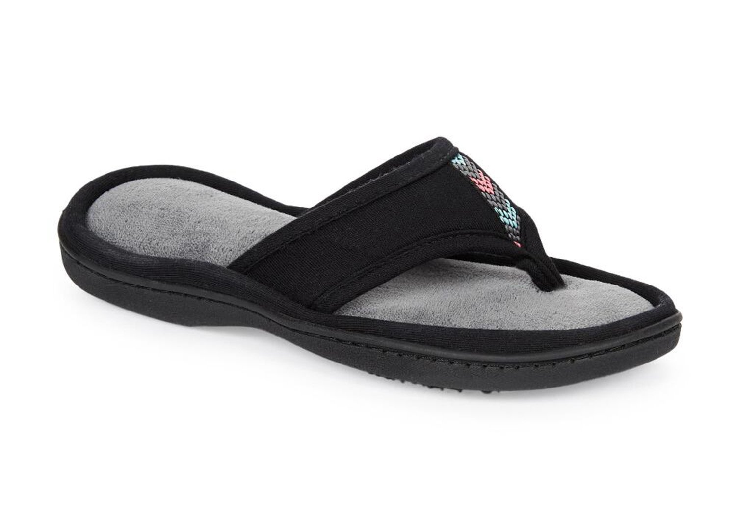 ISOTONER Jersey Luna Women's Summer Thong Slippers Flip Flop Style with Foam Cushion (Large (8.5-9), Black)