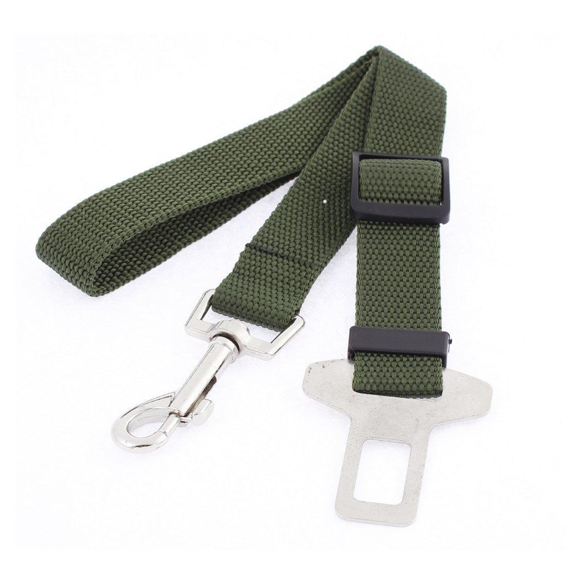 Ducomi 647903003044Cinturón de Seguridad Ajustable de Nailon para Perro con mosquetón, Verde Militar