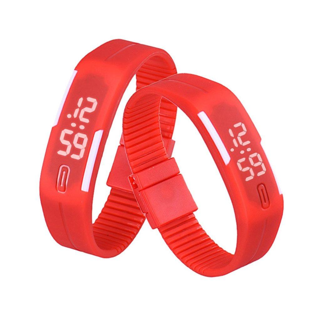 Mens Womens Rubber LED Watch Date Sports Bracelet Digital Wrist Watch Waterproof Watch Digital Retro Luxury Watches for Kid (Red)