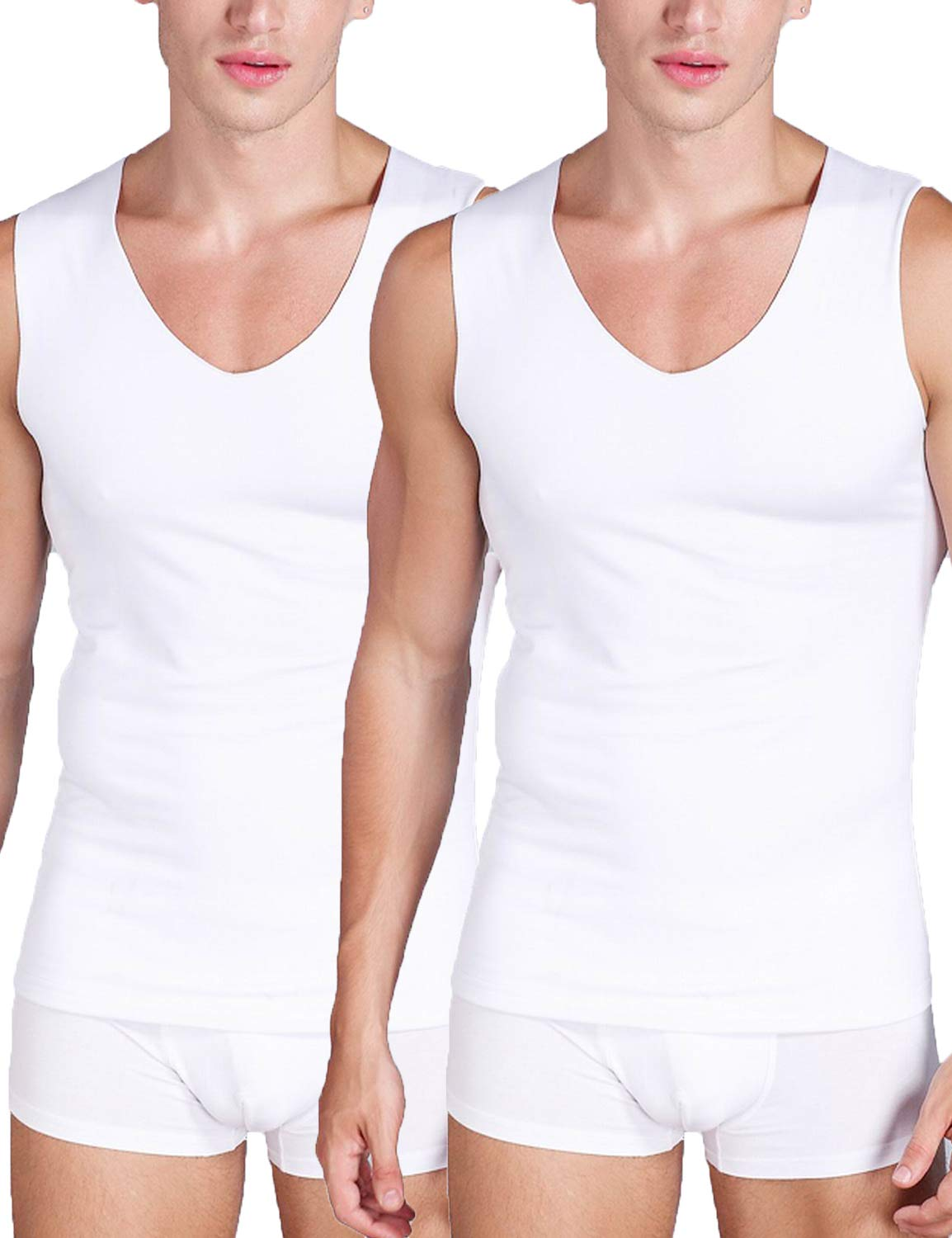 Warmfort Mens 2 Pack Lightweight Elastic ComfortSoft V-Neck Seamless Thermal Tank Top Sleeveless Undershirts with Fleece Lined (White-2PC, L) by Warmfort