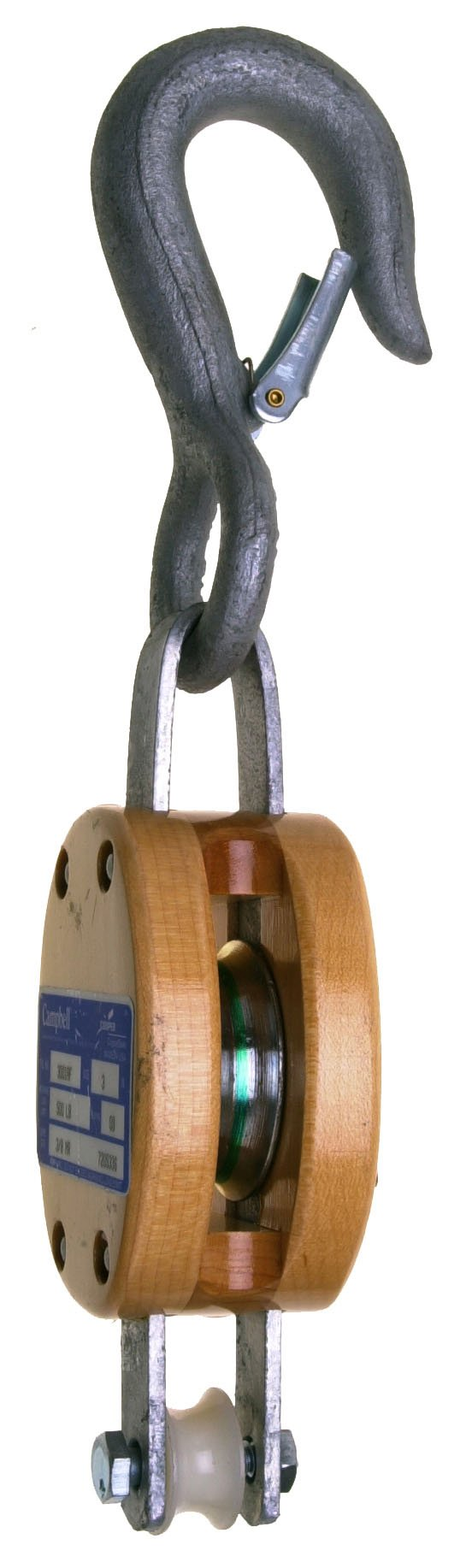 Campbell 3001AF 5'' Single Regular Wood Shell Block with AF Round Loose Hook, 1200 lbs Load Capacity, 5/8'' Rope, 1-3/4'' Sheave