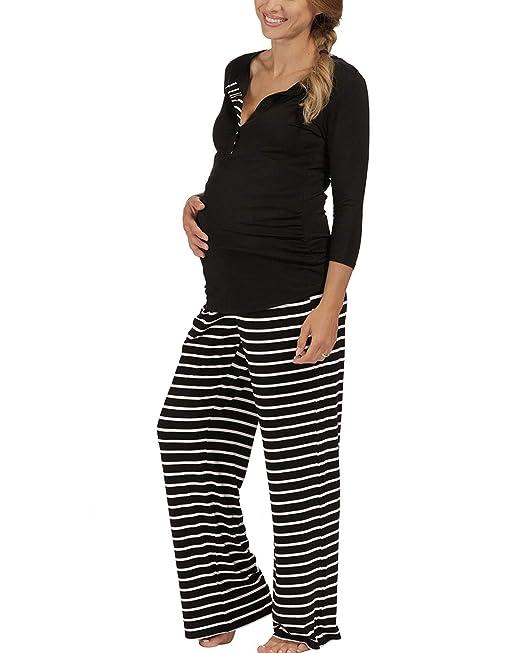 The Essential One - Mujeres Maternidad Pijamas Raya - Negro - Mujeres: 36/38