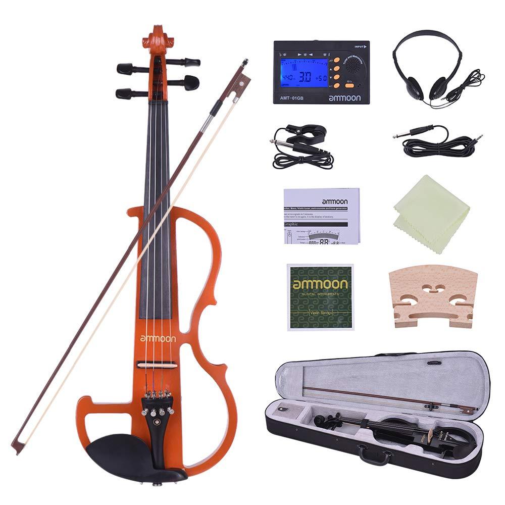ammoon Tamaño Completo 4/4 Madera Maciza Electric Silent Violin Fiddle Style-2 Clavijas de Diapasón de Ébano Chinette de Descanso de Chin con la Caja Dura del Arco Sintonizador Auriculares Resina (Naranja) 6489VO