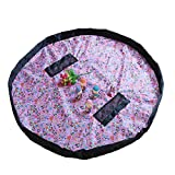 LLZJ Toy Storage Bag Kids Toys Organizer Baby Rug Portable Large Tidy Bag Storage Drawstring Play Mat Children Household Quick Pouch Sort Out Nylon, C