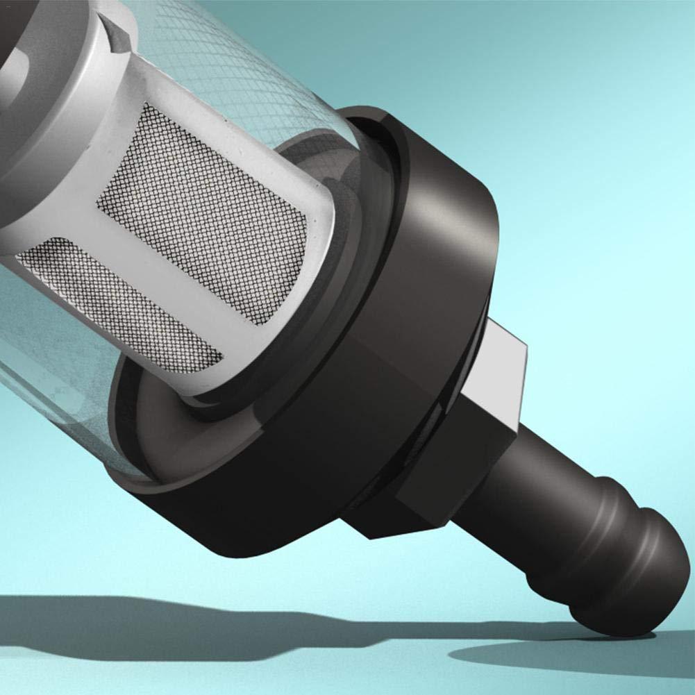 tuyau de montage universel de taille de vis de 8mm Acier inoxydable en verre de chrome de filtre /à essence diesel lavable de 5//16 pour la moto Yangers Filtre /à essence en ligne de moto bateau voiture tracteur