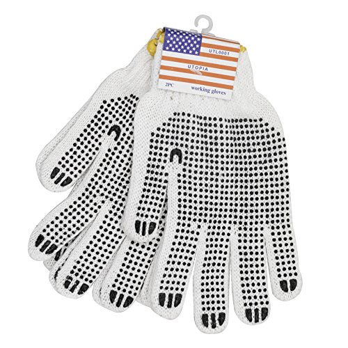 PVC Dotted Working Gloves(50 Pairs), Painter Mechanic Gardening Glove for Men Women, Garden, Lab, Construction Gloves With Increased Hand Grip and Protection from Rough Edges and Splinters ()