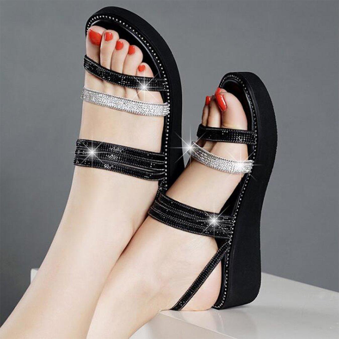 ZHONGST ZHONGST ZHONGST Damen Sommer Sandalen Medium Thick Slip Sandalen Strass Sandalen schwarz 4f05cb