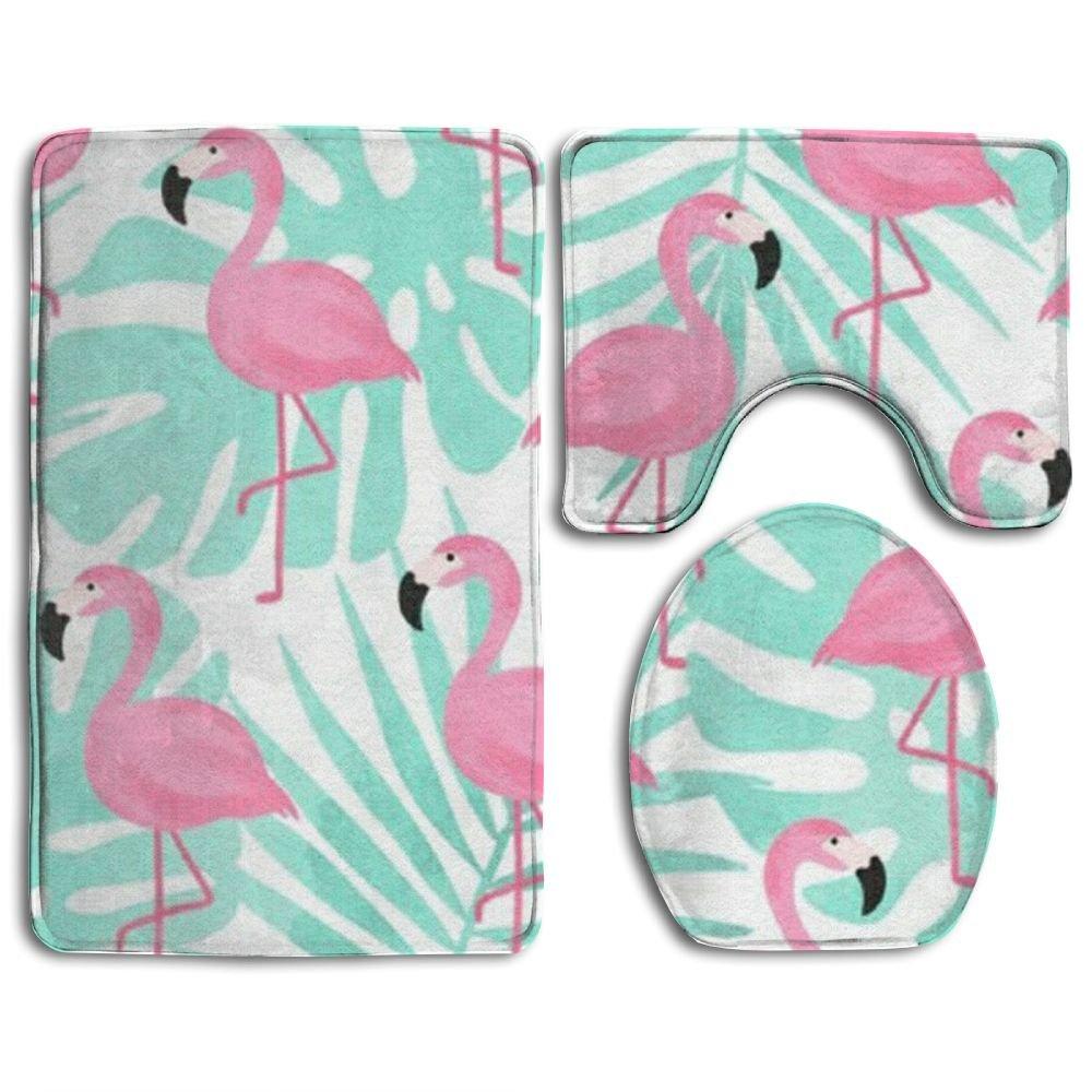 Pink Flamingo 3 Piece Bathroom Mats Set Non-Slip Bathroom Rugs/Contour Mat/Toilet Cover